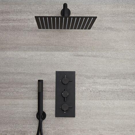 Hudson Reed Nox - Schwarze Duscharmatur mit 300x300mm Duschkopf und Handbrause