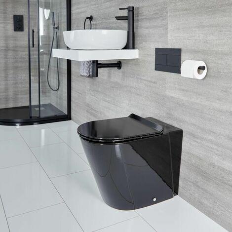 Hudson Reed Nox - WC à Poser Rond Noir avec Abattant à Fermeture Douce