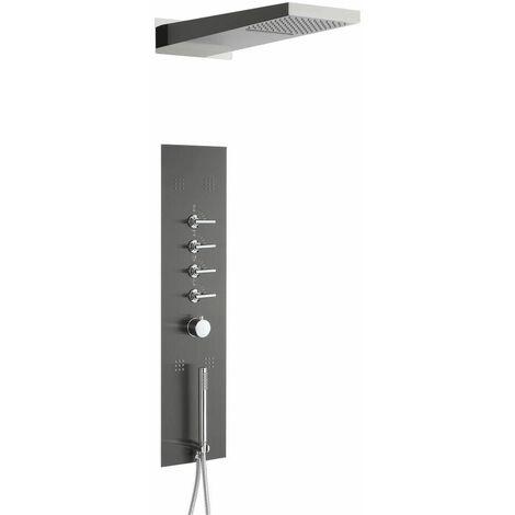 Hudson Reed Océanie - Colonne de Douche Thermostatique Design Encastrable Gris