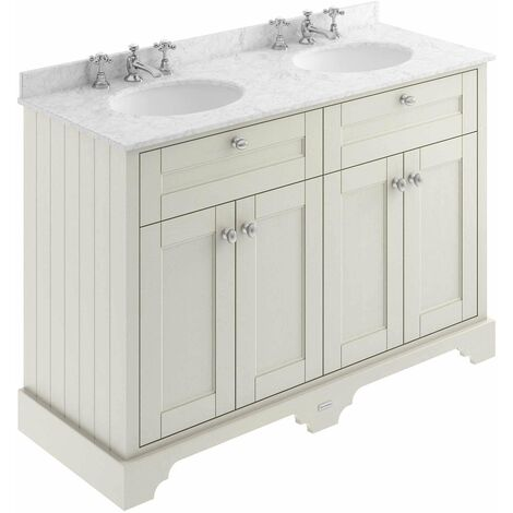 Hudson Reed Old London Floor Standing Vanity Unit 3TH Double Basin 1200mm Wide - Timeless Sand/Grey