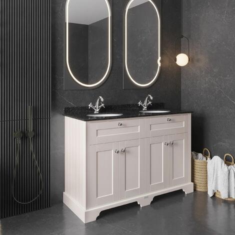 Hudson Reed Old London Floor Standing Vanity Unit Double Basin 1200mm Wide - Timeless Sand/Black