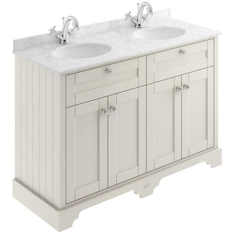 Hudson Reed Old London Floor Standing Vanity Unit Double Basin 1200mm Wide - Timeless Sand/Grey
