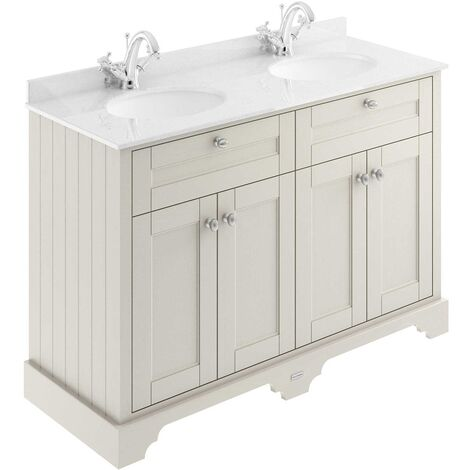 Hudson Reed Old London Floor Standing Vanity Unit Double Basin 1200mm Wide - Timeless Sand/White