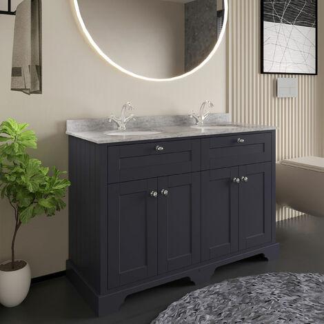 Hudson Reed Old London Floor Standing Vanity Unit Double Basin 1200mm Wide - Twilight Blue/Grey