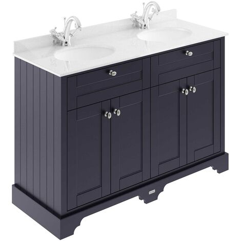 Hudson Reed Old London Floor Standing Vanity Unit Double Basin 1200mm Wide - Twilight Blue/White