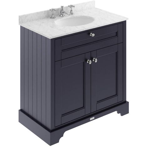 Hudson Reed Old London Floor Standing Vanity Unit with 3TH Basin 800mm Wide - Twilight Blue/Grey