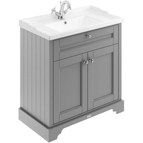 Hudson Reed Old London Floor Standing Vanity Unit with Basin 800mm Wide - Storm Grey