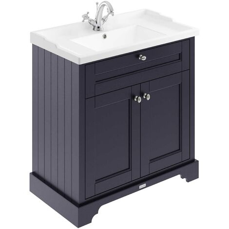 Hudson Reed Old London Floor Standing Vanity Unit with Basin 800mm Wide - Twilight Blue