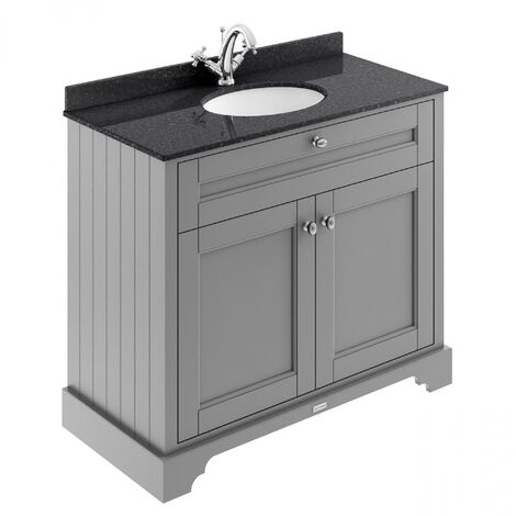Hudson Reed Old London Vanity Unit with 1TH Black Basin 1000mm Wide - Storm Grey