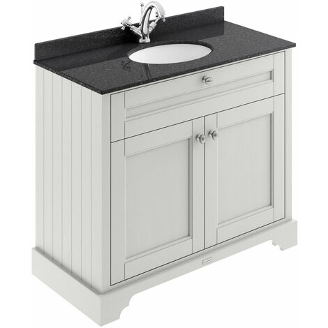 Hudson Reed Old London Vanity Unit with 1TH Black Basin 1000mm Wide - Timeless Sand