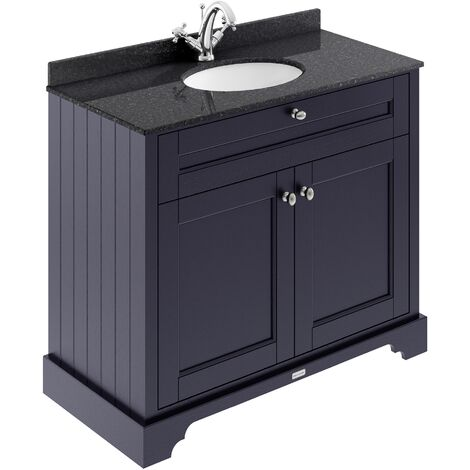 Hudson Reed Old London Vanity Unit with 1TH Black Basin 1000mm Wide - Twilight Blue