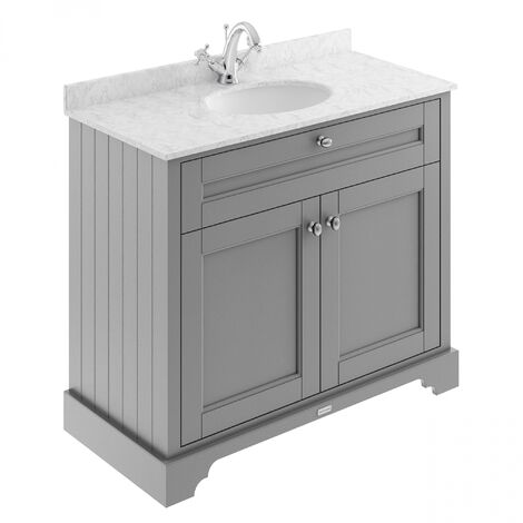Hudson Reed Old London Vanity Unit with 1TH Carrara White Basin 1000mm Wide - Storm Grey