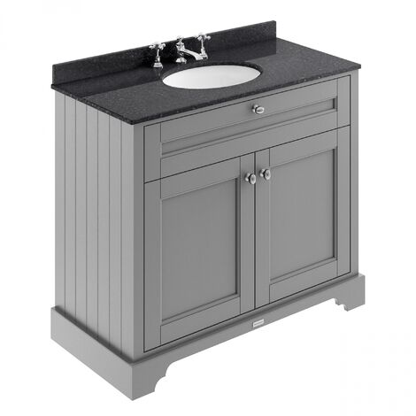 Hudson Reed Old London Vanity Unit with 3TH Black Basin 1000mm Wide - Storm Grey