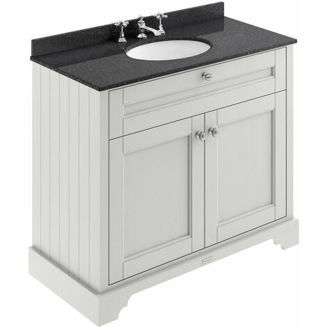 Hudson Reed Old London Vanity Unit with 3TH Black Basin 1000mm Wide - Timeless Sand