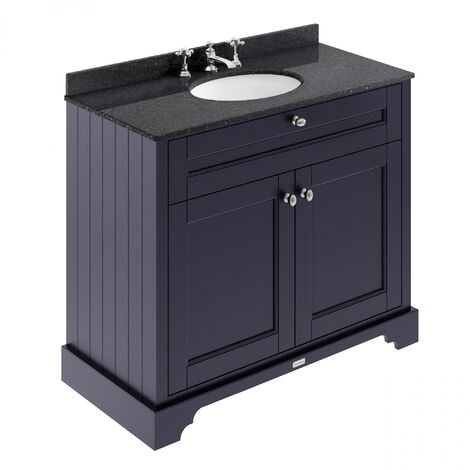 Hudson Reed Old London Vanity Unit with 3TH Black Basin 1000mm Wide - Twilight Blue