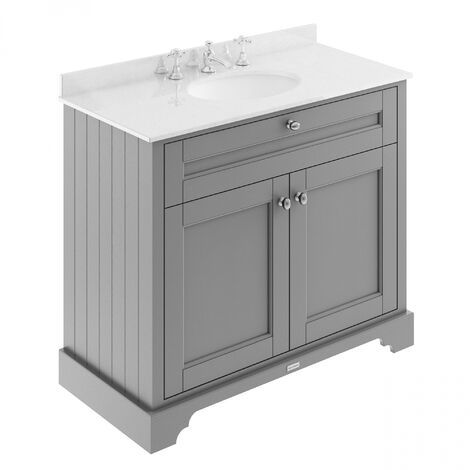 Hudson Reed Old London Vanity Unit with 3TH White Basin 1000mm Wide - Storm Grey