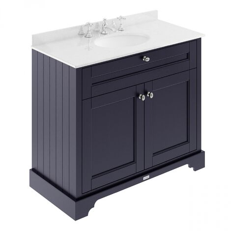 Hudson Reed Old London Vanity Unit with 3TH White Basin 1000mm Wide - Twilight Blue