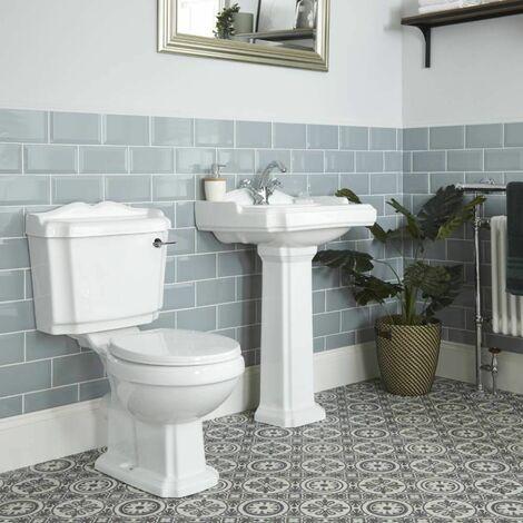 Hudson Reed Oxford - 1-Loch Säulenwaschbecken und Stand-Toilette Set Nostalgisch