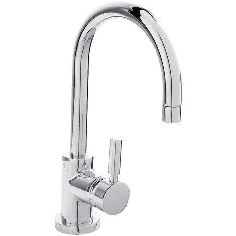 Hudson Reed PN380 Tec Lever ǀ Modern Bathroom Minimalist Side Action Lever Handle Basin Mixer Tap with Push Button Waste, 288mm x 53mm, Chrome