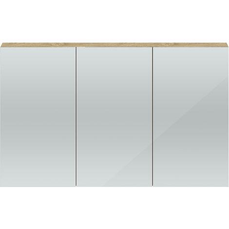 Hudson Reed QUA012 Quartet Natural Oak | 1350 Mirror Cabinet, Natural Oak