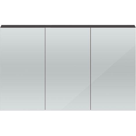 Hudson Reed Quartet 3 Door Mirrored Cabinet 1350mm Wide - Gloss Grey