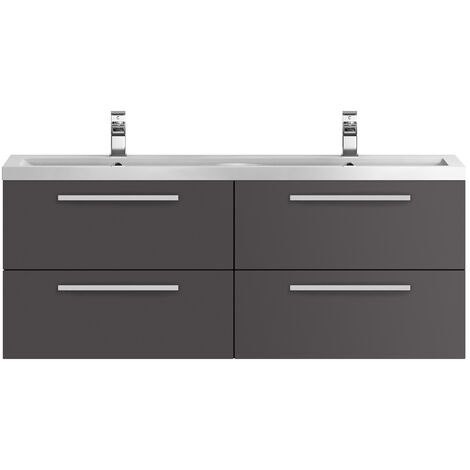 """main image of """"Hudson Reed Quartet Double Vanity Unit with Basin 1440mm Wide Wall Mounted - Gloss Grey"""""""