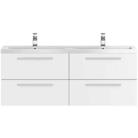 Hudson Reed Quartet Double Vanity Unit with Basin 1440mm Wide Wall Mounted - Gloss White
