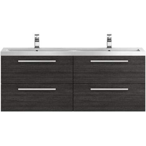 Hudson Reed Quartet Double Vanity Unit with Basin 1440mm Wide Wall Mounted - Hacienda Black