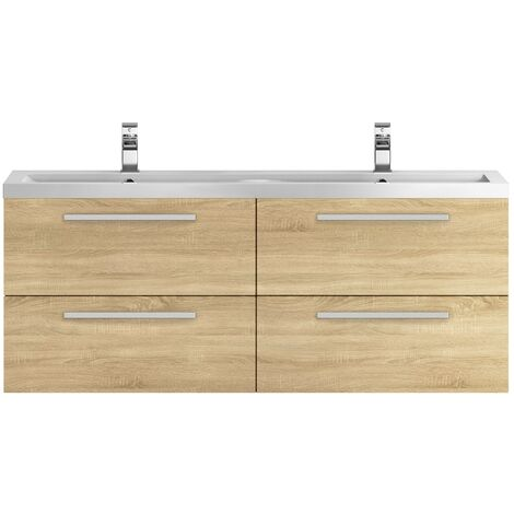 Hudson Reed Quartet Double Vanity Unit with Basin 1440mm Wide Wall Mounted - Natural Oak