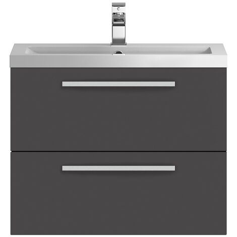 Hudson Reed Quartet Grey Gloss 720mm Wall Hung Cabinet & Basin