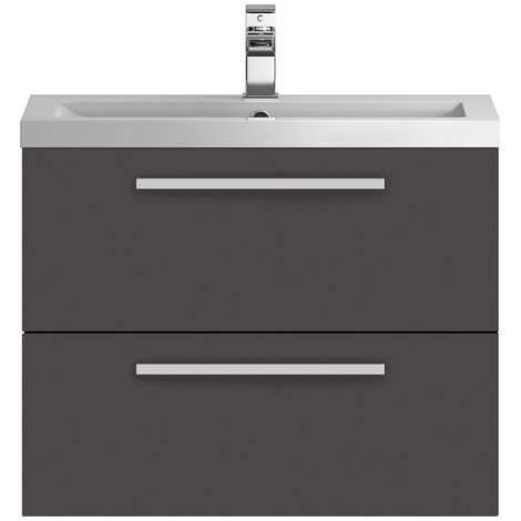"""main image of """"Hudson Reed Quartet Vanity Unit with Basin 720mm Wide Wall Mounted - Gloss Grey"""""""