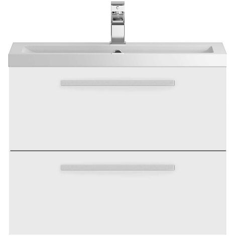 Hudson Reed Quartet Vanity Unit with Basin 720mm Wide Wall Mounted - Gloss White