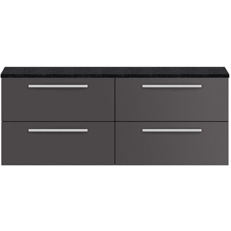 Hudson Reed Quartet Wall Hung 4-Drawer Double Vanity Unit with Sparkling Black Worktop 1440mm Wide - Gloss Grey