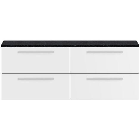 Hudson Reed Quartet Wall Hung 4-Drawer Double Vanity Unit with Sparkling Black Worktop 1440mm Wide - Gloss White