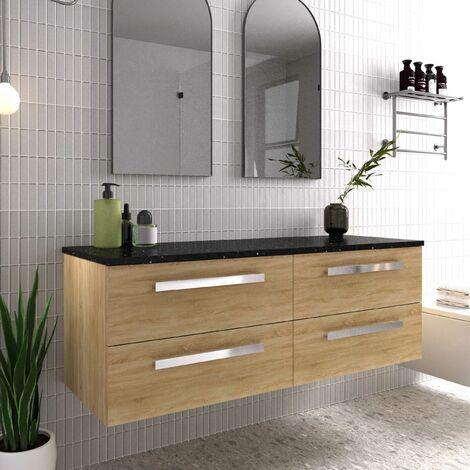 Hudson Reed Quartet Wall Hung 4-Drawer Double Vanity Unit with Sparkling Black Worktop 1440mm Wide - Natural Oak
