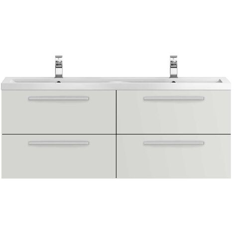 Hudson Reed Quartet Wall Mounted Vanity Unit with Basin 1440mm Wide - Gloss Grey Mist