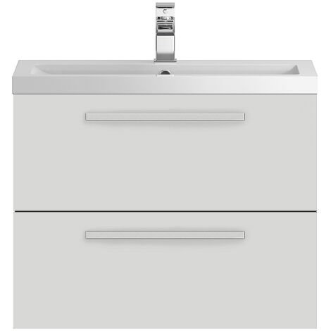 Hudson Reed Quartet Wall Mounted Vanity Unit with Basin 720mm Wide - Gloss Grey