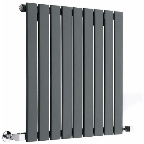 Hudson Reed Radiador de Diseño Moderno Horizontal Delta- Radiador con Acabado Antracita - Paneles Planos - 635 x 630mm - 563W - Calefacción de lujo