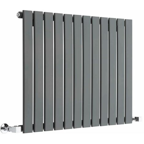 Hudson Reed Radiador de Diseño Moderno Horizontal Delta- Radiador con Acabado Antracita - Paneles Planos - 635 x 840mm - 751W - Calefacción de lujo