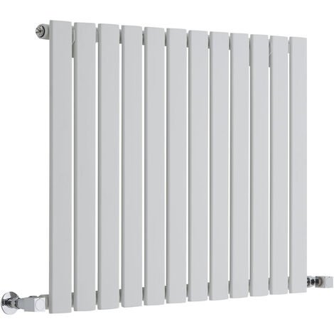 Hudson Reed Radiador de Diseño Moderno Horizontal Delta- Radiador con Acabado Blanco - Paneles Planos - 635 x 840mm - 751W - Calefacción de lujo