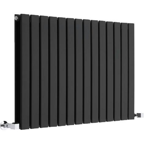 Hudson Reed Radiador de Diseño Moderno Horizontal Delta- Radiador con Acabado Brillante en Negro - Paneles Planos - 635 x 980mm - 1338W - Calefacción de lujo