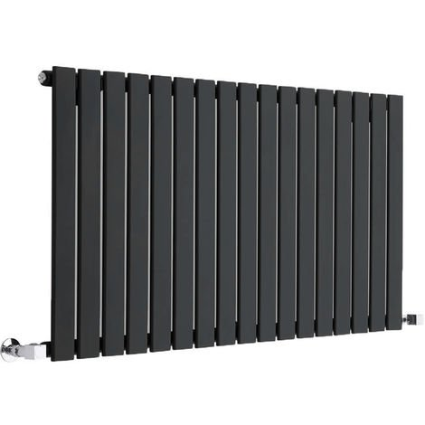 "main image of ""Hudson Reed Radiador de Diseño Moderno Horizontal Delta - Radiador con Acabado Negro - Paneles Planos - 635 x 1190mm - 1064W - Calefacción de lujo"""