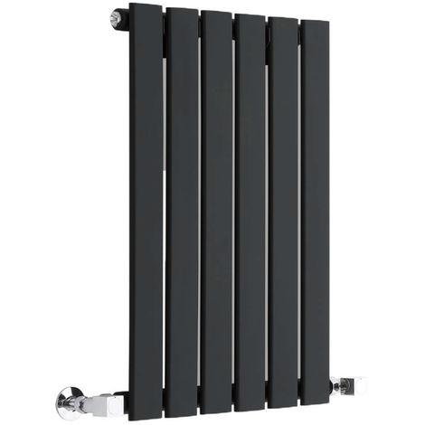 Hudson Reed Radiador de Diseño Moderno Horizontal Delta - Radiador con Acabado Negro - Paneles Planos - 635 x 420mm - 376W - Calefacción de lujo