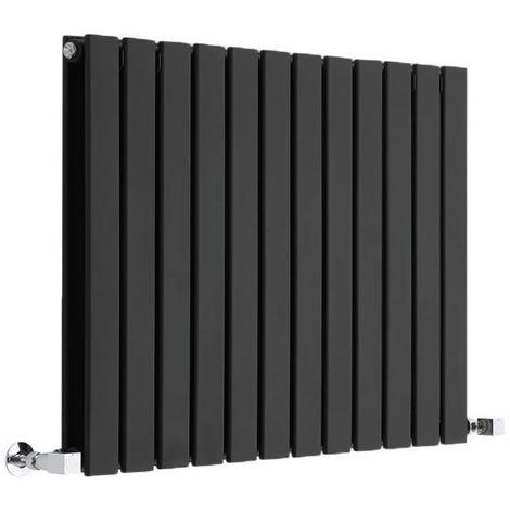 Hudson Reed Radiador de Diseño Moderno Horizontal Delta - Radiador con Acabado Negro - Paneles Planos - 635 x 840mm - 1146W - Calefacción de lujo