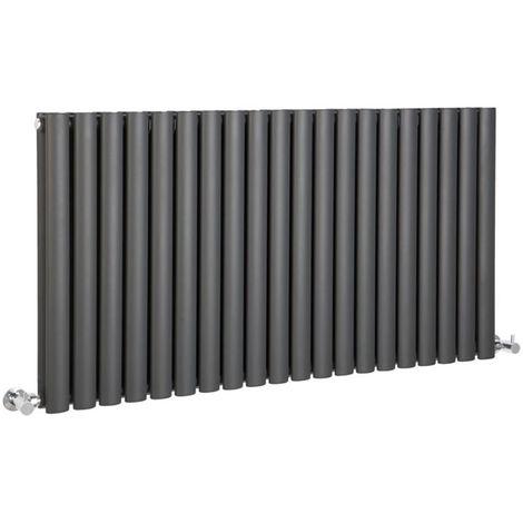 Hudson Reed Radiador Revive Horizontal con Calefacción de Diseño Moderno - Acabado Antracita - Diseño de Columna - 635 x 1180mm - 1863W - Calefacción de Lujo