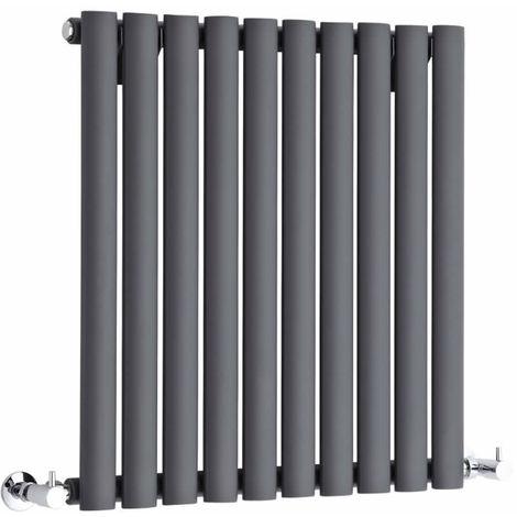 Hudson Reed Radiador Revive Horizontal con Calefacción de Diseño Moderno - Acabado Antracita - Diseño de Columna - 635 x 590mm - 597W - Calefacción de Lujo