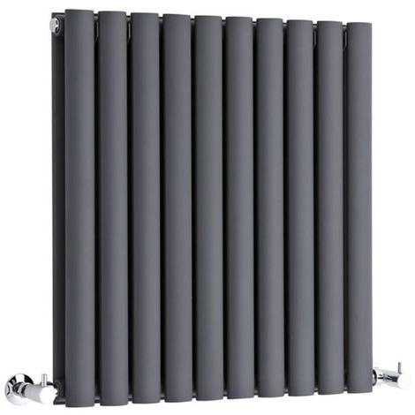 Hudson Reed Radiador Revive Horizontal con Calefacción de Diseño Moderno - Acabado Antracita - Diseño de Columna - 635 x 590mm - 932W - Calefacción de Lujo