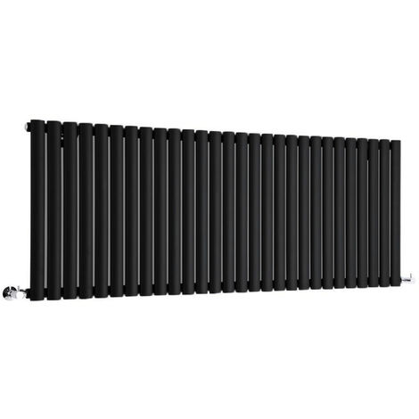 Hudson Reed Radiador Revive Horizontal con Calefacción de Diseño Moderno - Acabado Negro - Diseño de Columna - 635 x 1647mm - 1671W - Calefacción de Lujo