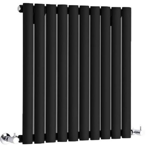 Hudson Reed Radiador Revive Horizontal con Calefacción de Diseño Moderno - Acabado Negro - Diseño de Columna - 635 x 590mm - 597W - Calefacción de Lujo