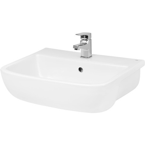 Hudson Reed Rectangular Semi-Recessed 520mm Basin with 1 Tap Hole - SRB003
